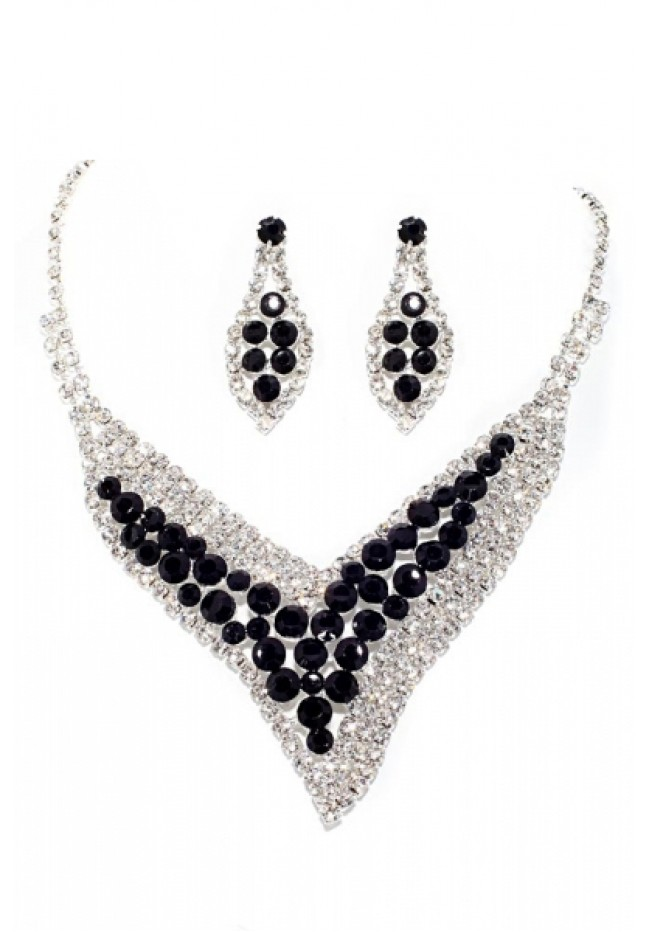 Rhinestone Necklace & Earrings