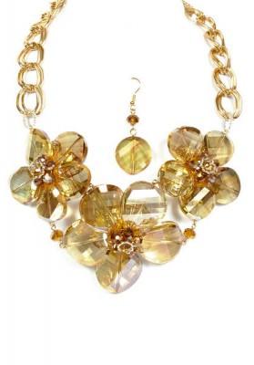 Golden Beaded Necklace Set