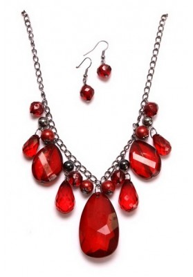 Ruby Red Necklace & Earrings