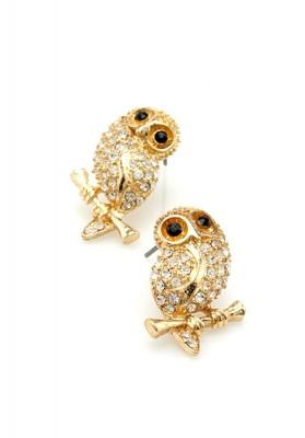 Gold Owl Earrings