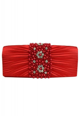 Evening clutch bag with pearls and stones